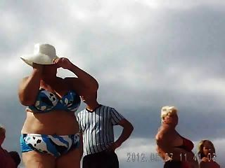 Russian Grannies On The Beach! Amateur!