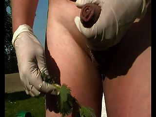 Outdoors Stimulate My Cock With Nettles - Slow Cumshot