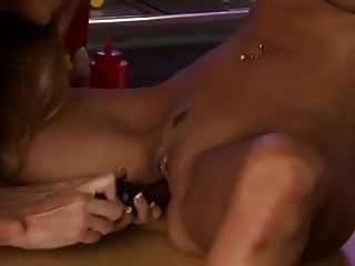 Brunette And Blonde In Lesbian Cafe
