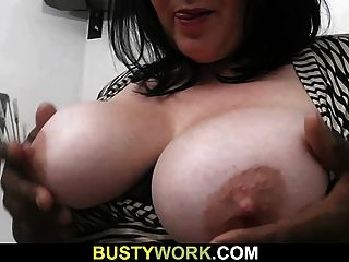 Busty Bitch In Fishnets Rides Black Rod