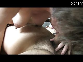 Old Nanny: Young Guy Licking Old Hairy Pussy Of Grandma