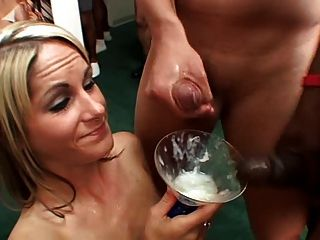 Drinking Cum From A Glass