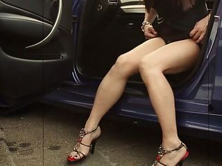 Asian Cd With Sexy Legs Jacks And Cums On Feet