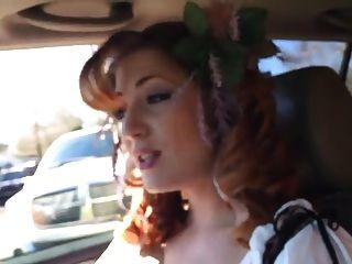 Redhead Smoking In Car