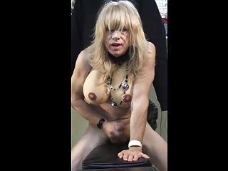 Tranny Ally Jerks Off While Straddling A Bench