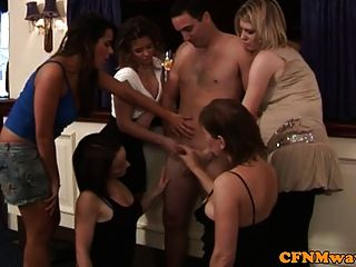 Cfnm Femdom Group Suck And Jerk Cock