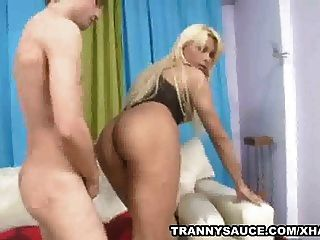 Blonde Shemale Sucks Cock And Gets Fucked Anally