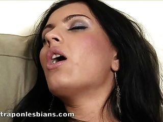 Gorgeous Brunette Ionella Fucked Hard With A Strapon