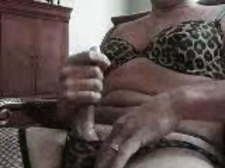 Jerkin Off - Matching Leopard Panties And Bra