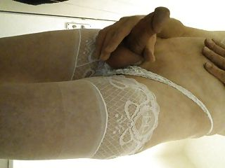 Hard Shaved Cock In Lace Top Stockings & Panties