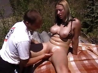 Blonde With Nice Hangers Fisted Outdoor