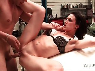 Skinny French Brunette Anal Fucked In A Garage