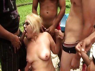 Brazilian Grandma Victora Gangbanged