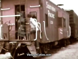 Deep Blowjob And Hot Fuck In The Train (1960s Vintage)