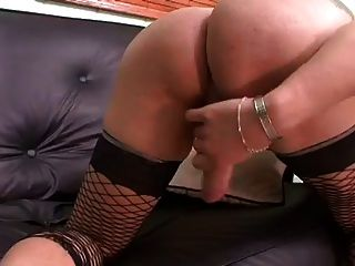Blonde Tranny Carolina Jerks Her Big Cock And Eats Cum