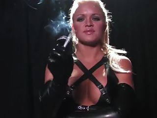 Blonde Girl Smoking In Long Latex Gloves