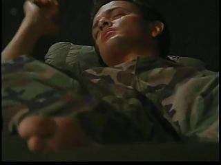 Military Dude Playing With His Foot And Cock