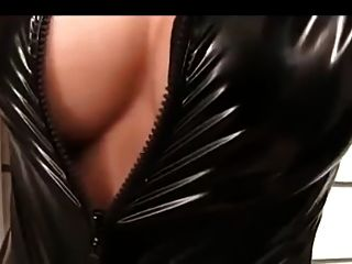Shemale In Black Latex Catsuit