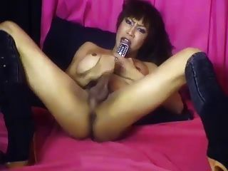 Asian Ladyboy Masturbating On The Phone