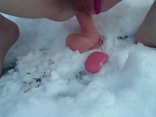 Riding Dildo Hard Outdoor In Snow