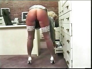 Older Blond Secretary Plays With Her Wet Pink Pussy