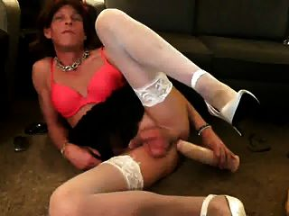 Hung Cougar Crossdresser Fucks Huge Dildo