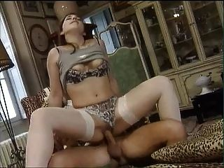 Anal For Brunette In White Stockings