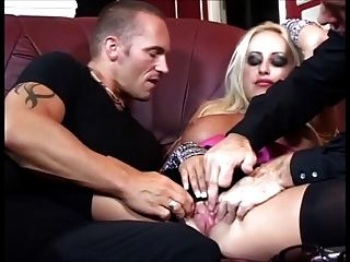 British Blonde Slut Fucked By Two Cocks
