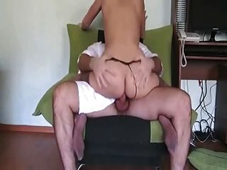 Girlfriend Rides Cock On A Chair