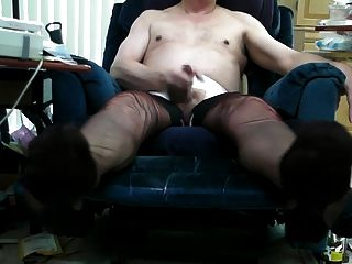 Vintage Black Ff Stockings And Double Cum!
