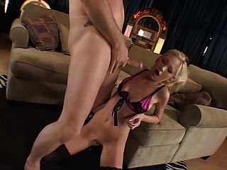 Blonde Slut Sucks On Guys Cock And He Rubs Her Pussy Then Fucks Her
