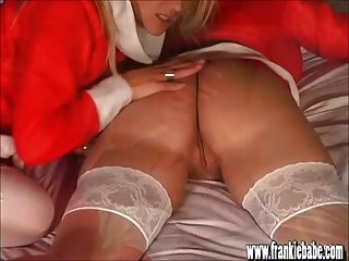 Santas Busty Blonde Lesbian Babes Lick And Fuck Sweet Pussy