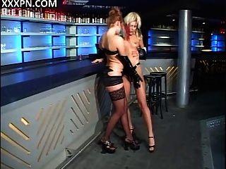 Lesbian Bombshells Make Love In The Bar.