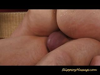 Slippery Brunette Takes Cumshot In Her Pretty Mouth