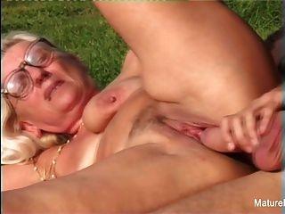 Blonde Grandma Gets Some Cum On Her Glasses