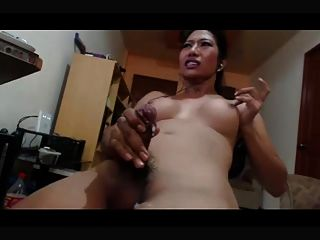 Asian Shemale Losing Her Cum