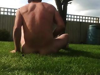 Naked In Garden With Self Facial