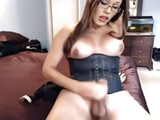 Out Of This World Shemale Cums On Webcam