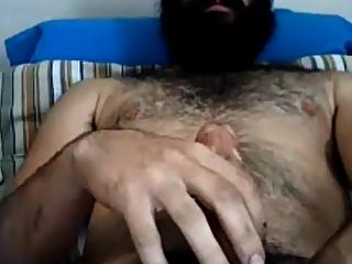 Handsome Bearded Guy Stroking His Big Dick