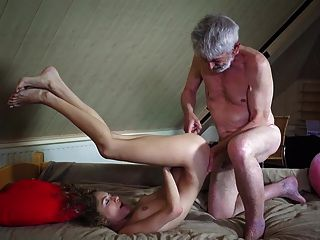 Young Pretty Take Cum From Old Pervert