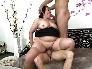 Busty Granny Fucks Two Young Boys