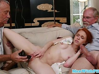 Pigtailed Redhead Teen Banged By Oldman