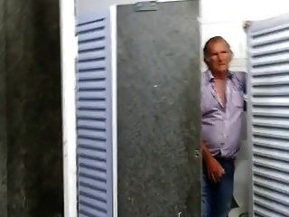 Shy Hairy Grandpa Gives A Hand In Restroom