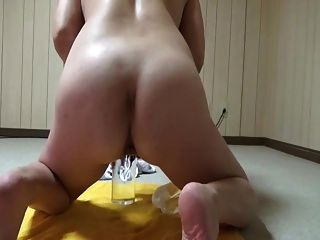 Amateur Wife Impales Herself On Glass Dildoes