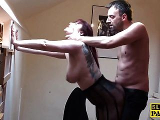 image Brit sub slut nikki gold in stockings fucked