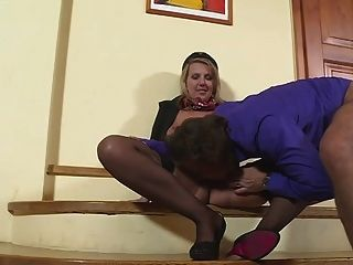 Hostess Luci Angel Fucking In Black Stockings