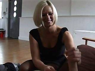 Amazing Blonde Slaps & Strokes A Cock