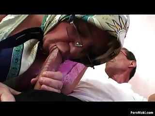 Busty Granny And Hot Teen Share A Dick
