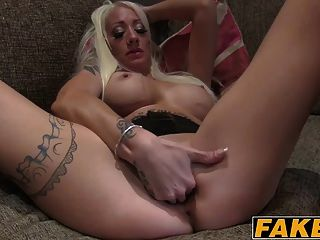 Skinny Blonde Chick Enjoys Her Ride On A Cock On A Casting