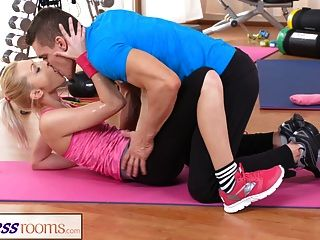 Fitnessrooms Bendy Blonde Bends Over For Her Personal Traine